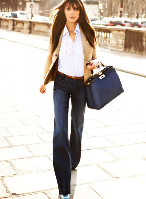 flare jeans blu scuro