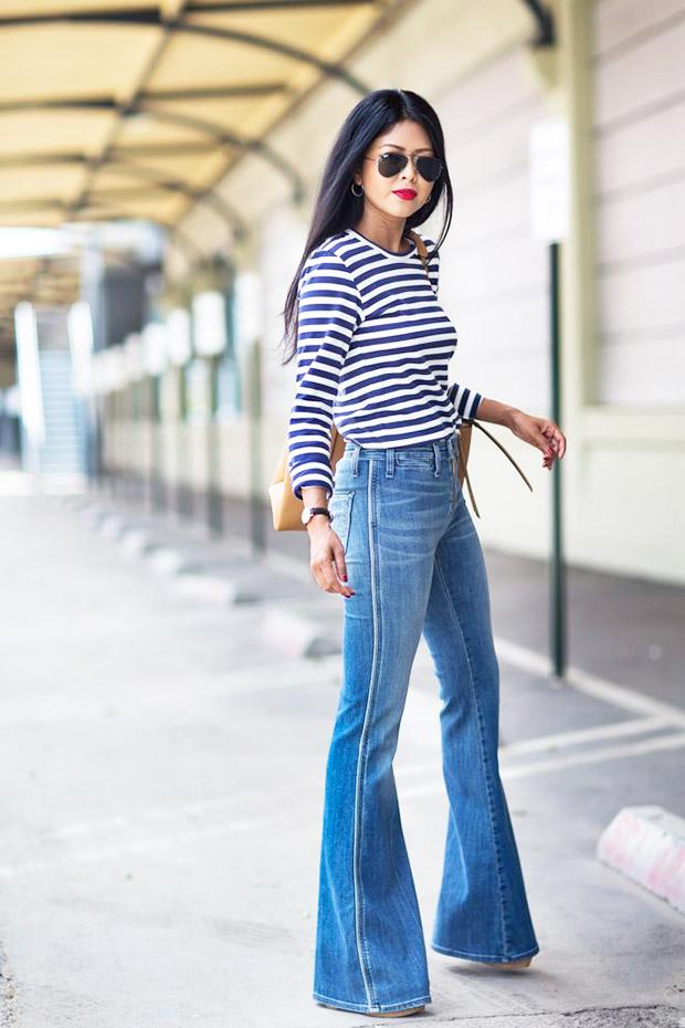 jeans a zampa a vita alta