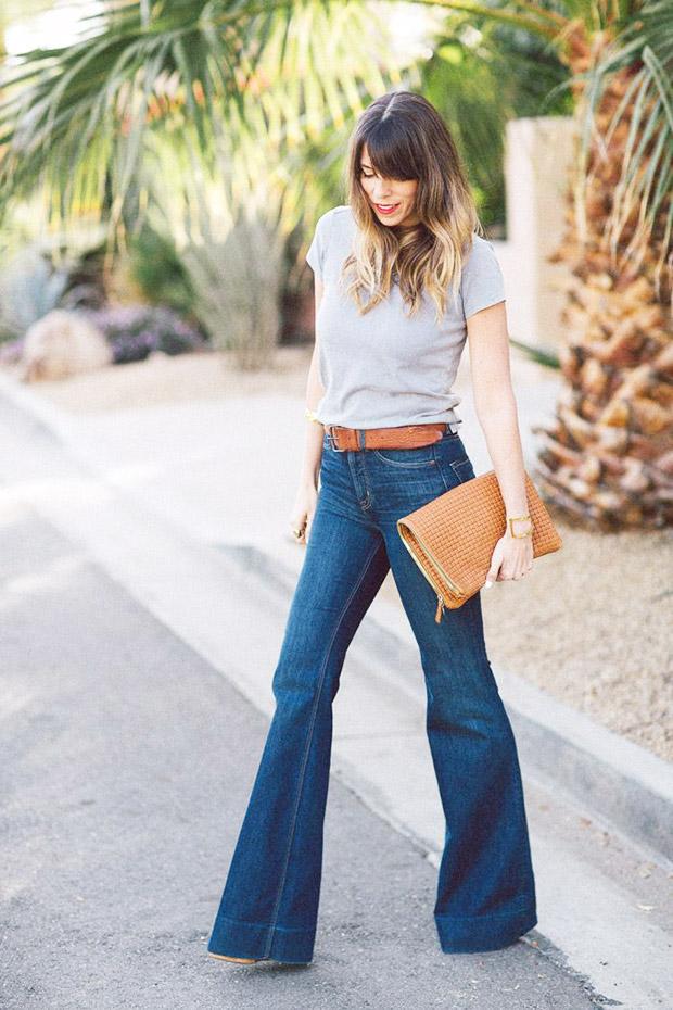 flare jeans e t-shirt